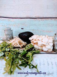 Rice paper rolls shrimps avocado mushrooms