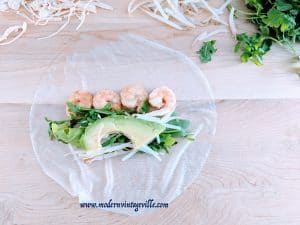 Rice paper rolls shrimps avocado mushrooms
