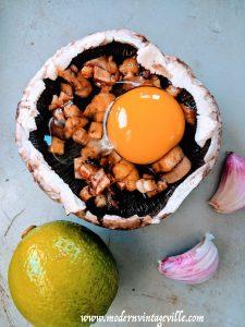 Portabello mushroom baked with egg