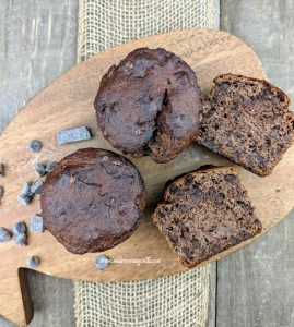 keto friendly banana chocolate chip muffins with nutella