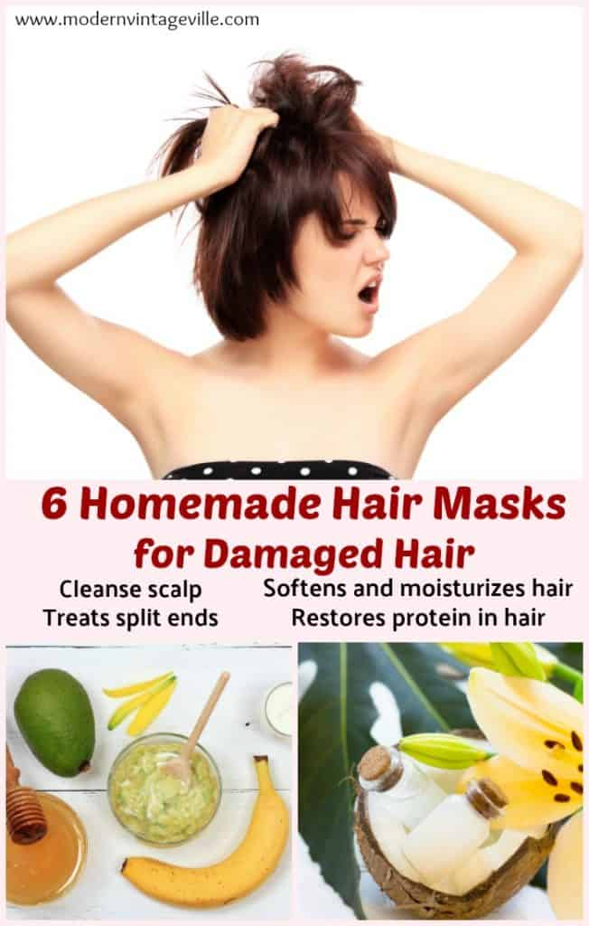 DIY hair masks for damaged, frizzy hair. They are deep conditioning, heal split ends , moisturizing, and will repair your hair.