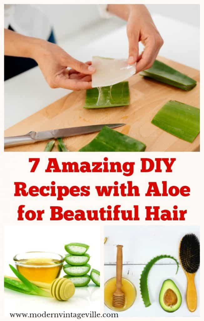 Recipes of DIY hair products with aloe vera. You can also use aloe vera for curly hair. Aloe vera hair mask for frizzy hair with coconut oil and honey.