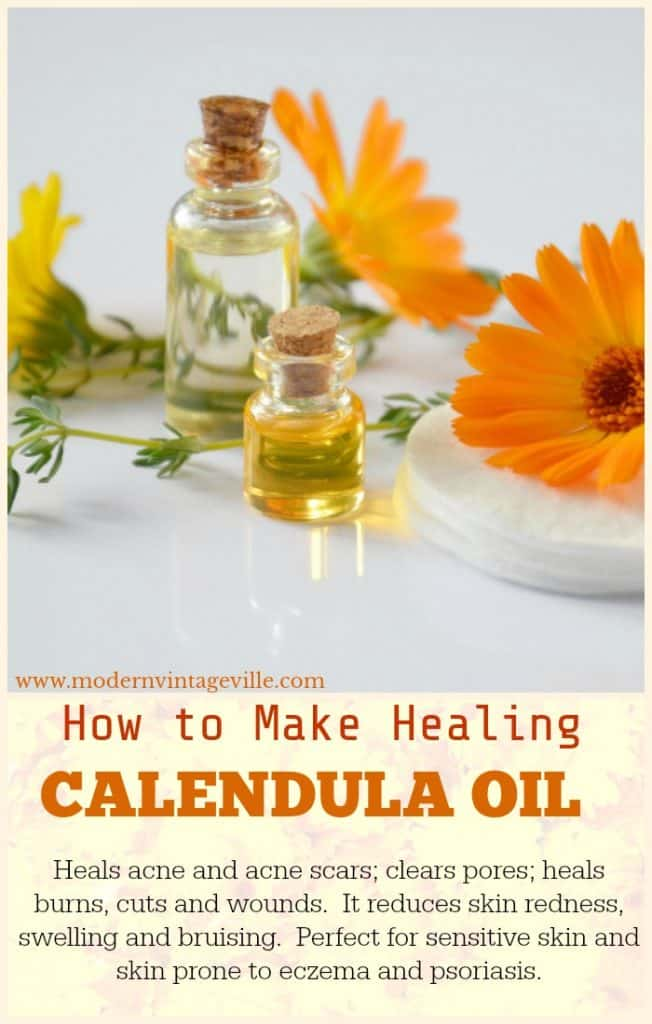 Calendula oil has many benefits: it treats acne, it help red, inflamed skin to calm down. It heals acne scars and dull uneven skin tone.