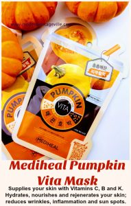 Mediheal sheet mask review. This mask is infused with pumpkin extract that will make your skin moisturized, hydrated, nourished and rejuvenated. It is a perfect way to pamper your skin at home.
