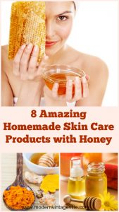 Recipes of 8 amazing beauty products that you can easily make at home.  Honey helps to clear acne, acne scars, pimples.  It gently exfoliates the skin improving its tone.  It also brightens and whitens your skin giving it glowing, healthy complexion.